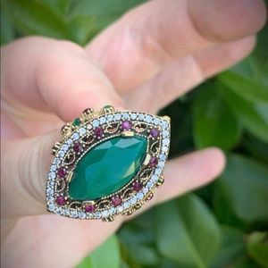 EMERALD RUBY RING Sz 9.5 Solid 925 Sterling Silver